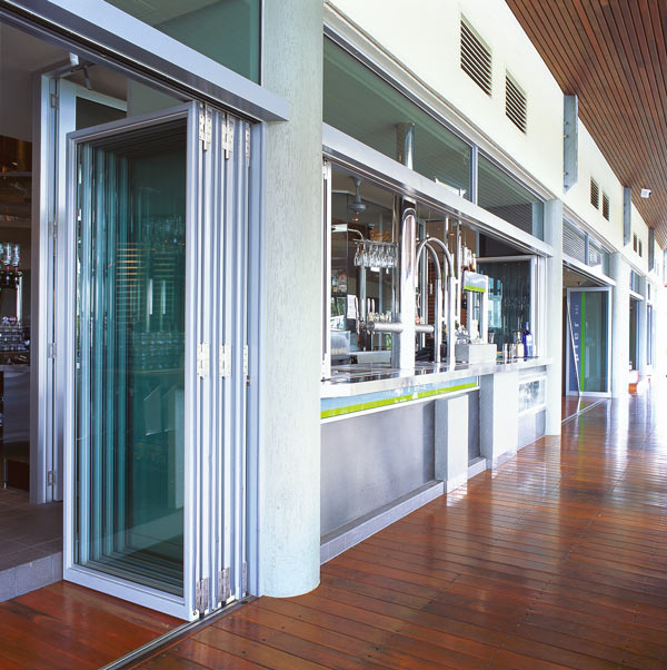 Commercial exterior folding door application aluminum for Commercial exterior doors