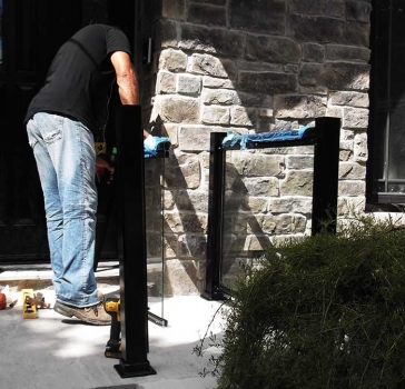 Aluminum-Glass-Railing-During-Installation Process-on a house porch in-New-Market