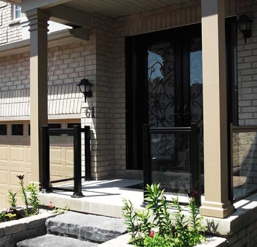 Aluminum-Railing-with-Glass and Milan-Design-Double-Fiberglass-Doors-with-multi-Point-Locks-and-2-Slim-Side-Lits-installed-in-Richmond hill by Aluminum Windows Toronto
